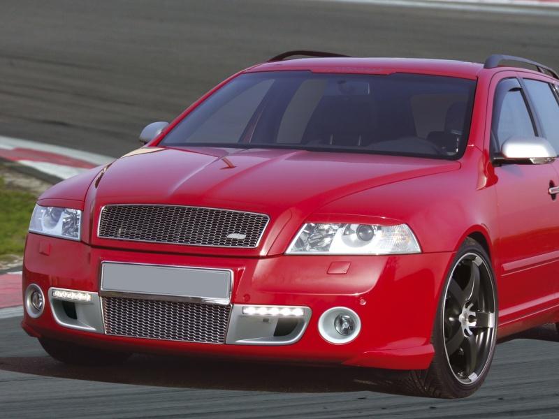 Автомобиль Skoda установлены универсальные светодиодные модули с тонированн